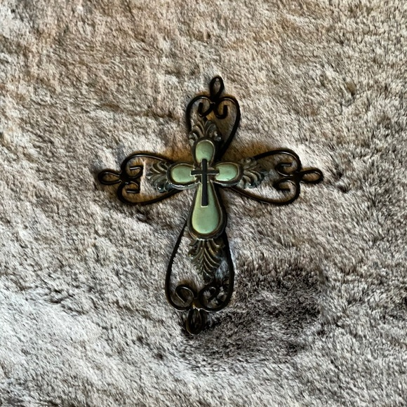 Turquoise and metal cross